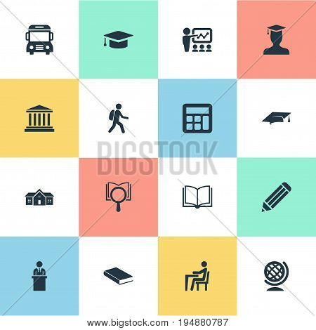 Vector Illustration Set Of Simple Education Icons. Elements School, Courthouse, Adding Machine And Other Synonyms Reading, Degree And Supplies.