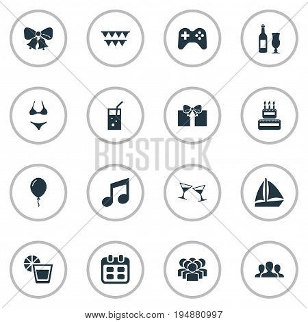 Vector Illustration Set Of Simple Celebration Icons. Elements Date, Birthday Pie, Wineglasses And Other Synonyms Lemon, Bells And Sailboat.