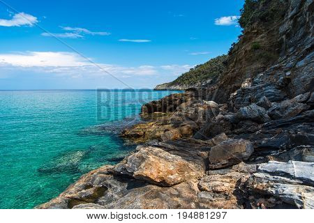 Amazing turquise water on the coast of the beautiful greek island Thasos