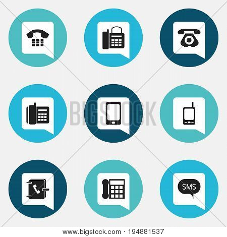 Set Of 9 Editable Device Icons. Includes Symbols Such As Home Cellphone, Smartphone, Message And More. Can Be Used For Web, Mobile, UI And Infographic Design.