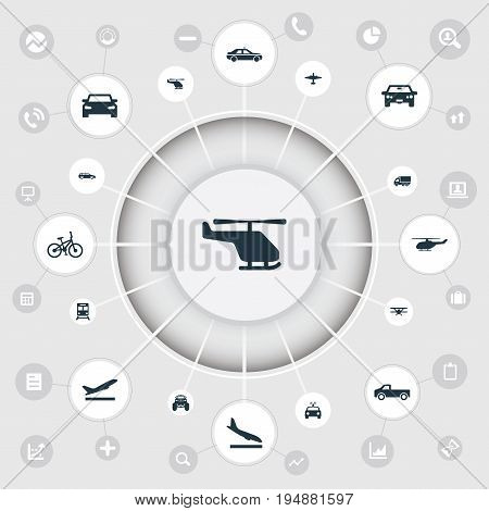 Vector Illustration Set Of Simple Transport Icons. Elements Chopper, Truck, Carriage And Other Synonyms Airplane, Chopper