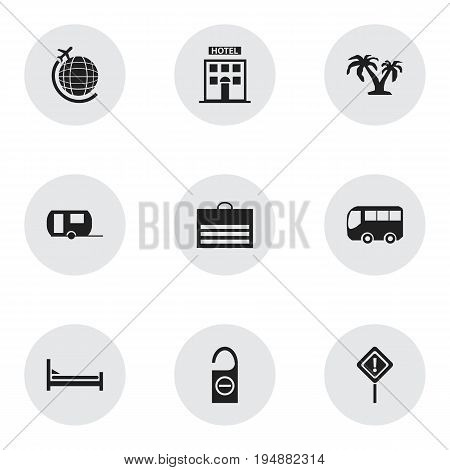Set Of 9 Editable Travel Icons. Includes Symbols Such As Mattress, Hotel, Trading Purse And More. Can Be Used For Web, Mobile, UI And Infographic Design.