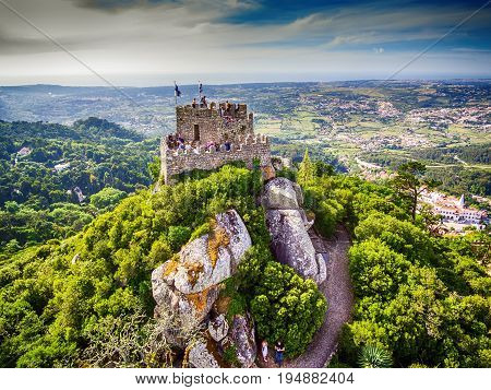Sintra, Portugal: aerial top view of the Castle of the Moors, Castelo dos Mouros, located next to Lisbon in spring