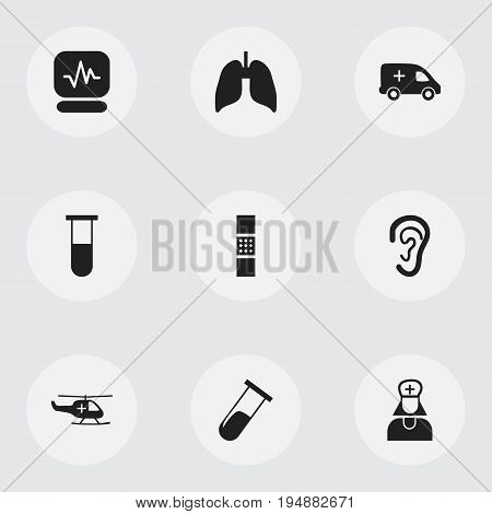Set Of 9 Editable Clinic Icons. Includes Symbols Such As Pulse, Listen, Respiratory Organ And More. Can Be Used For Web, Mobile, UI And Infographic Design.