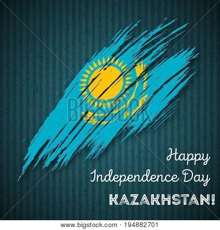 Kazakhstan Independence Day Patriotic Design. Expressive Brush Stroke In National Flag Colors On Dar
