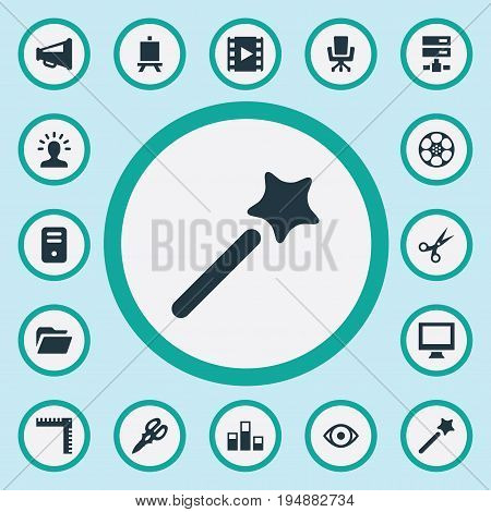 Vector Illustration Set Of Simple Designicons Icons. Elements Colums Graph, Occupation, Easel And Other Synonyms Geometry, Layout And Scissors.