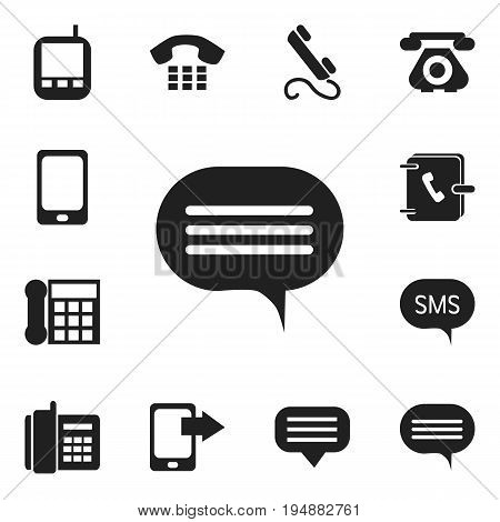 Set Of 12 Editable Phone Icons. Includes Symbols Such As Chat, Transceiver, Share Display And More. Can Be Used For Web, Mobile, UI And Infographic Design.