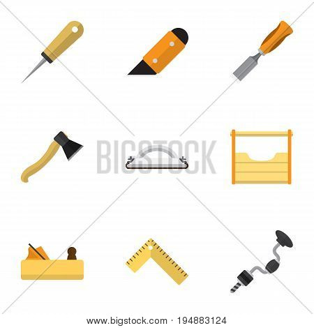 Set Of 9 Editable Apparatus Icons. Includes Symbols Such As Axe, Jointer, Boer And More. Can Be Used For Web, Mobile, UI And Infographic Design.