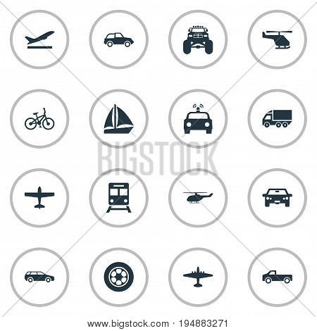 Vector Illustration Set Of Simple Transportation Icons. Elements Chopper, Truck, Bike And Other Synonyms Plane, Airliner And Boat.