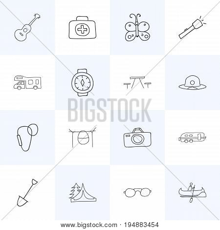 Set Of 16 Editable Travel Icons. Includes Symbols Such As Photographing, Campfire Cooking, Camp House And More. Can Be Used For Web, Mobile, UI And Infographic Design.