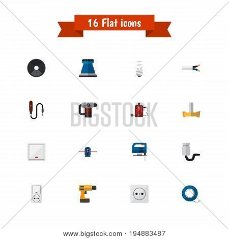 Set Of 16 Editable Electric Icons. Includes Symbols Such As Grinder, Inserting Nails, Jig Saw And More. Can Be Used For Web, Mobile, UI And Infographic Design.