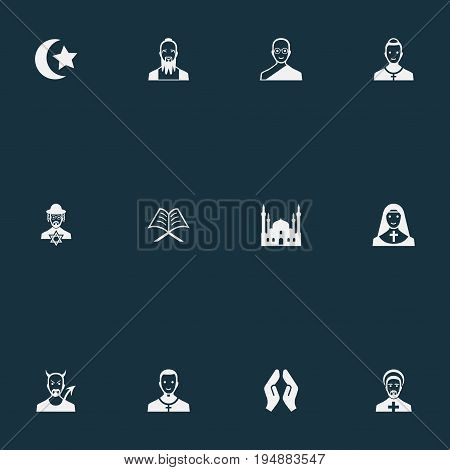 Vector Illustration Set Of Simple Religion Icons. Elements Clergyman, Chapel, Cleric And Other Synonyms Taoism, Kohen And Islam.