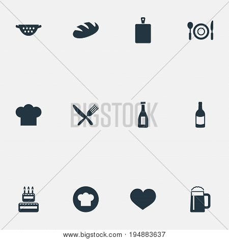 Vector Illustration Set Of Simple Food Icons. Elements Chopping Wood, Table Setting, Loaf And Other Synonyms Chef, Wine And Bottle.