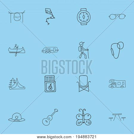 Set Of 16 Editable Travel Icons. Includes Symbols Such As Seat, Campfire Cooking, Wrist Clock And More. Can Be Used For Web, Mobile, UI And Infographic Design.