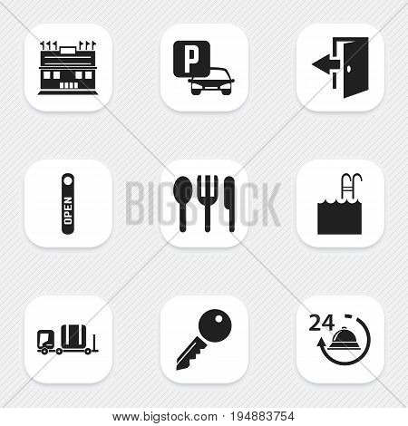 Set Of 9 Editable Motel Icons. Includes Symbols Such As Luggage, Open Sign, Reception And More. Can Be Used For Web, Mobile, UI And Infographic Design.