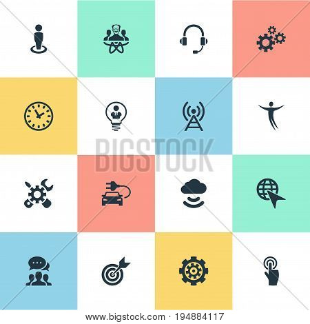 Vector Illustration Set Of Simple Invention Icons. Elements Mechanism, Broadcast, Headphone And Other Synonyms Bulb, Goal And Mechanism.