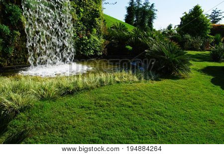 Waterfall on a sunny day