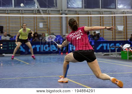 ST. PETERSBURG, RUSSIA - JULY 7, 2017: Yaelle Hoyaux of France (right) vs Beatriz Corrales of Spain in 3rd day of badminton tournament White Nights. Corrales won 2:0