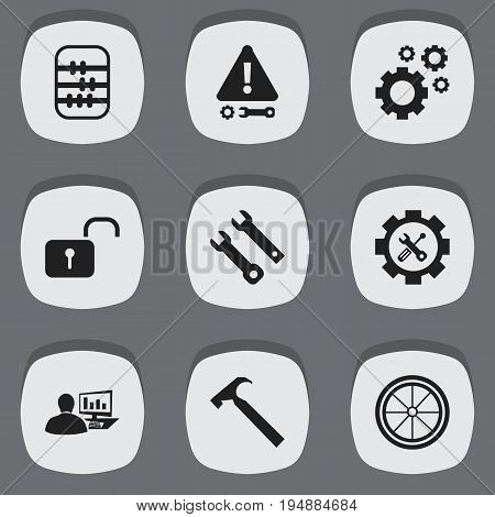 Set Of 9 Editable Service Icons. Includes Symbols Such As Service, Cogwheels, Screwdriver Wrench And More. Can Be Used For Web, Mobile, UI And Infographic Design.