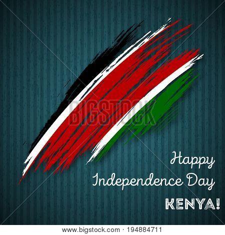 Kenya Independence Day Patriotic Design. Expressive Brush Stroke In National Flag Colors On Dark Str