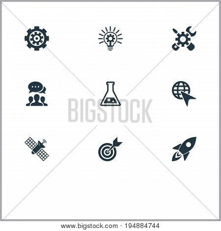 Vector Illustration Set Of Simple Innovation Icons. Elements Bulb, Missile, Flask And Other Synonyms Renovation, Mend And Sputnik.