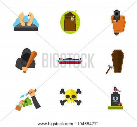 Funeral services icon set. Dead man Digging hole Coffin Last nail Gravestone. Contains bonus icon of Hand pointing gun Hooligan Robbery Death sign