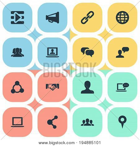 Vector Illustration Set Of Simple Social Icons. Elements Group, Profile, Web User And Other Synonyms Mark, Group And Agreement.