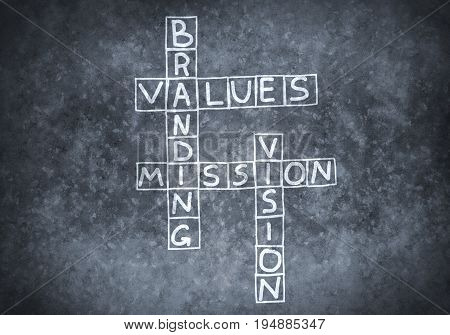 Studying concept with crossword drawn on blackboard