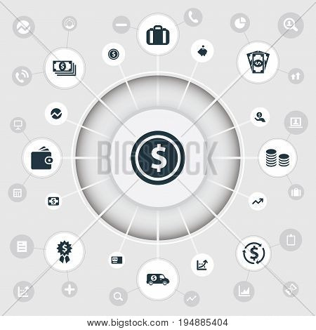 Vector Illustration Set Of Simple Bill Icons. Elements Increase Graph, Premium, Statistic And Other Synonyms Bill, Greenback And Revenue.