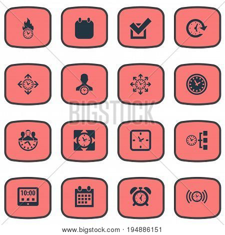 Vector Illustration Set Of Simple Administration Icons. Elements Velocity, Deadline, Term And Other Synonyms Alarm, Calendar And Watch.