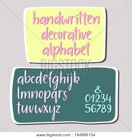 Modern calligraphy alphabet. Handwritten brush letters. Uppercase, lowercase, numbers. Hand lettering font for your design: wedding calligraphy, logo, slogan, window decor postcard greeting card