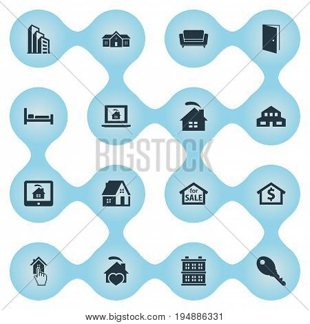 Vector Illustration Set Of Simple Property Icons. Elements Residence, Structure, Apartment And Other Synonyms Database, Door And Investment.