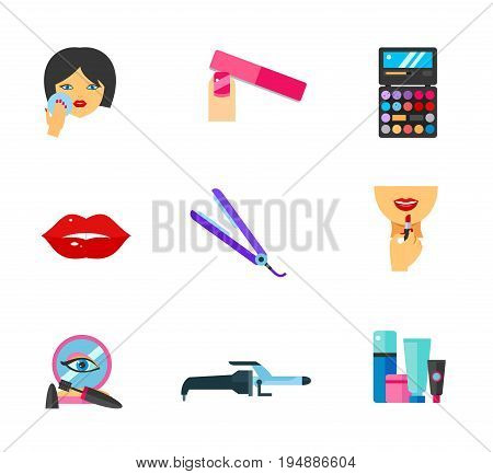 Makeup icon set. Powdering Palette Applying lipstick on lips Makeup base Makeup containers. Contains bonus icons of Nail file Lips Hair straightening iron Curling iron