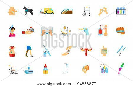 Medicine and disability icon set. Gynecology Guide dog Minibus Ramp Handicapped equipment Sign language Braille book Medical instruments Toothache Pills Dentist Donor Knuckles Uterus Contraception Oil