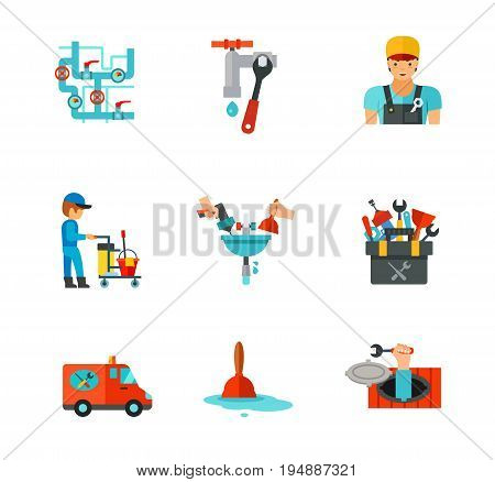 Plumber icon set. Pipe connector Wrench Plumber Plumbing service Pipe repairing Tools Plumber truck Plunger Sewer manhole