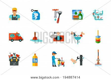 Plumbery and cleaning icon set. Plumber Detergent Service Dishwashing liquid Pipes Plumber truck Plunger Sewer manhole Pipe repairing Dust brush Tools Pipe cleaning Cleaning service Wrench Sponge mop