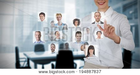 Connection between people against composite image of chairs and table in office