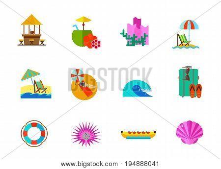 Sea vacations icon set. Beach bar Coconut with tubule Coral Beach umbrella and lounge chair Reclining chair Sunbathing Sea wave Suitcase Life preserver Sea urchin Banana boat Seashell