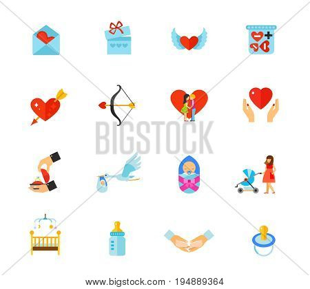 Valentines Day and Newborn icon set. Love mail Gift box Heart with wings Love pills Heart with arrow Bow Kiss Heart in hands Proposal Stork Newborn Stroller Baby bed Bottle Hands holding baby Pacifier