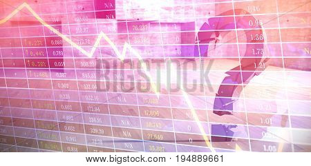 3d composite image of gray question mark  against stocks and shares