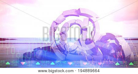 3d image of broken At sign with various symbols  against stocks and shares