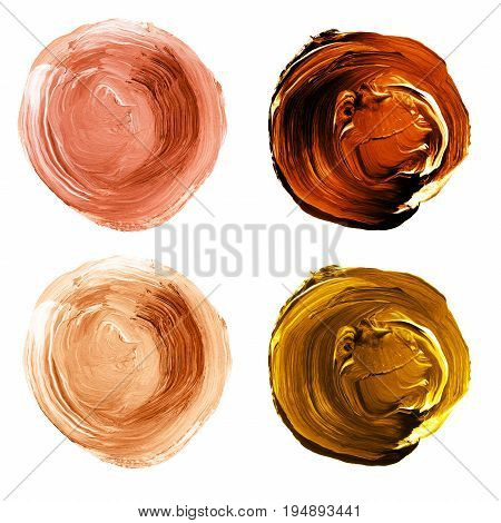 Acrylic Textured Circles In Shades Of Orange And Brown Colors Isolated On White Background.