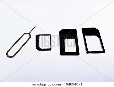 SIM card adapter with pin for mini nano and micro sim card.