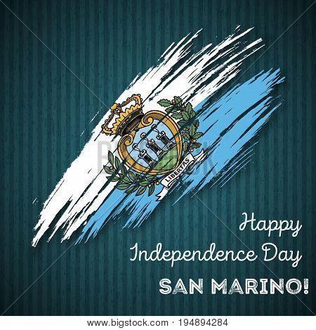 San Marino Independence Day Patriotic Design. Expressive Brush Stroke In National Flag Colors On Dar