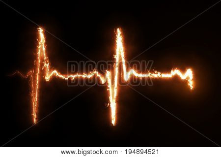Burning Pulse Heart Line Monitor Cool Illustration