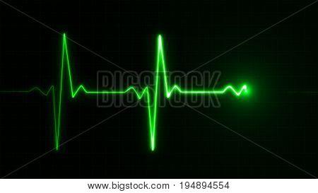 Neon Heart Beat Pulse In Green Illustration
