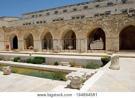JERUSALEM ISRAEL - JUNE 25 2017: Courtyard of the Rockefeller Archaeological Museum in Jerusalem