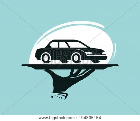 Taxi service logo. Car wash, dealership, dealer, auto parts rental icon