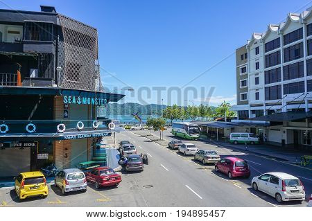 Kota Kinabalu,Sabah-June 17,2017:Kota Kinabalu city view at Kota Kinabalu,Sabah,Malaysia.Kota Kinabalu City is hub for islands,resorts,award winning sunsets & Mount Kinabalu.
