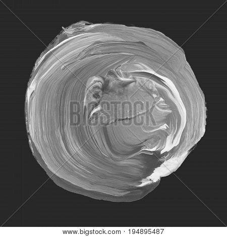 Acrylic Circle Isolated On Black Background. Gray Round Watercolor Shape For Text. Element For Diffe